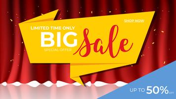Sale banner template. Origami with Red Curtain background.  discount promotion layout concept.