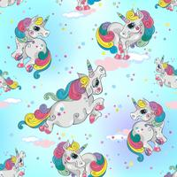 Seamless pattern with magic unicorns. Blue sky background with stars. For boys. Vector.