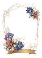 Gold frame with succulents flowers. Watercolor. Graphics. Vector.