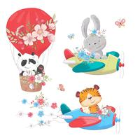 Cute cartoon animals transport vehicle ship and balloon. Vector