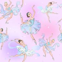 Ballerinas. Seamless pattern. Little princess. Vector illustration.