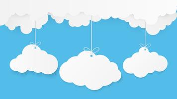 Paper art with cloud on blue sky. Copy space. Speech Bubble, White blank hanging.