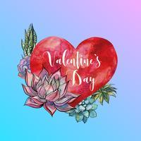 Día de San Valentín. Acuarela corazón y suculentas. Letras. Vector