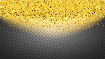 Cirkel av guldglitter med små partiklar. abstrakt bakgrund med gyllene gnistrar på transparent bakgrund.