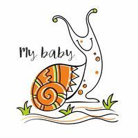 Lumaca. Il mio bambino. Iscrizione. Per bambini. Scarabocchi. Stile scandinavo. Vettore.