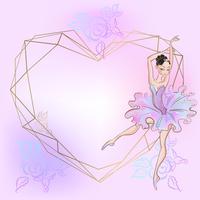 Marco de corazón con la bailarina. Rosado. Ilustracion vectorial