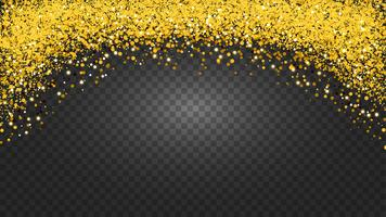 Circle of gold glitter with small particles.  abstract background with golden sparkles on transparent background.