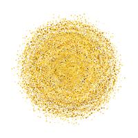 Circle of gold glitter with small particles.  abstract background with golden sparkles on white background.