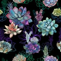 Seamless pattern with succulents on black background. Graphics. Watercolor.