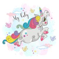 Magic unicorn.My baby. Fairy pony. Rainbow Mane. Tecknad stil. Vektor