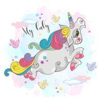 Magic unicorn.My baby. Fairy pony. Rainbow Mane. Tecknad stil. Vektor