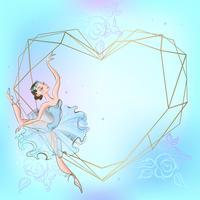 Marco de corazón con la bailarina. Azul. Ilustracion vectorial