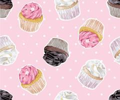 cup cake op polka dot naadloze patroon illustratie