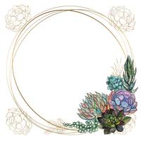 Round gold frame with succulents. Vector. Watercolor. Graphics