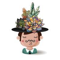 Niño con flores suculentas. Acuarela. Ilustraciones vectoriales