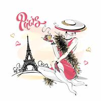 The girl in the hat drinks coffee. Fashion model in Paris. Eiffel tower. Romantic composition. Elegant model on vacation. Vector