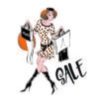 La ragazza che fa shopping. Sale.Discounts. Acquisti. Confessioni di uno Shopaholic. Vettore
