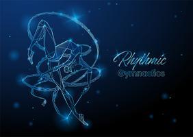 Ginnastica ritmica. Una ginnasta con un nastro. Illustrazione incandescente al neon futuristico. Vettore