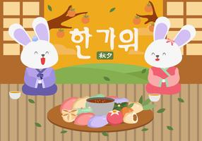 Cute Bunny Greeting Happy Chuseok Vector Flat Illustration