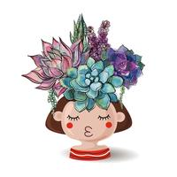 Girl with flowers succulents. Watercolor. Vector illustrations.