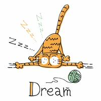 Gato engraçado dos desenhos animados dormindo. Estilo bonito. Vetor.