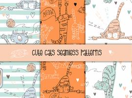 Set of seamless patterns of cats in a cute style.