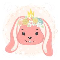 volto simpatico coniglietto con corona di fiori e corona in idea di vettore piatto di primavera per carta, t-shirt stampabile per bambini