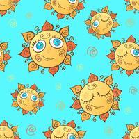 Fröhliche Kinder nahtlose Muster mit Sonnen. Vektor