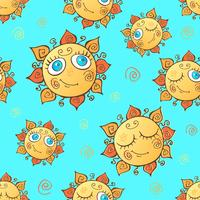 Cheerful children's seamless pattern with suns. Vector