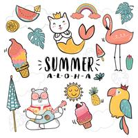 hand draw cute doodle icon summer collection  flat vector illustration