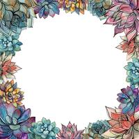 Round frame made of succulents. Holiday card. Watercolor. Graphics. Vector.