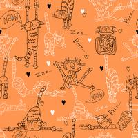 A fun seamless pattern with cute cats on an orange background