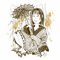 Chica japonesa en kimono con paraguas. Vector.