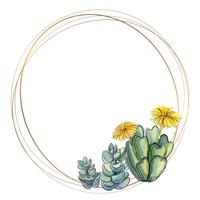 Round gold frame with succulents. Watercolor. Vector.