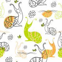 Slakken. Naadloos patroon in Scandinavische stijl. Doodles. Vector