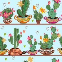 Seamless pattern. Cartoon cacti in pots are on the shelves. Vector.