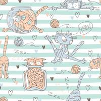 Cute cats on striped pattern background . Vector.