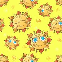 Cheerful children's seamless pattern with suns. vector.