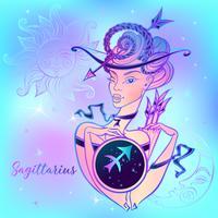 Signo zodiacal de Sagitario una niña hermosa. Horóscopo. Astrología. Vector.