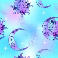 Modèle sans couture. Soleil lune et étoiles. Fond de l'espace. Ciel de nuit. Un fond de fée magique. Vecteur