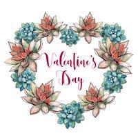 Alla hjärtans dag. Suckulent hjärta. Holiday kort. Valentine. Vattenfärg. Vektor.