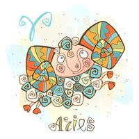 Children's horoscope icon. Zodiac for kids. Aries sign . Vector. Astrological symbol as cartoon character.