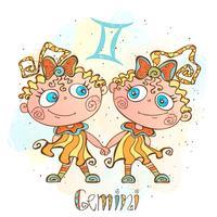 Ícone do horóscopo infantil. Zodíaco para crianças. Sinal de gêmeos. Vetor. Símbolo astrológico como personagem de desenho animado.