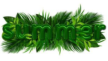 Grön sommar tropisk bakgrund med exotiska palmblad och växter. Vektor blommig bakgrund.