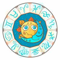 Sun and moon in the zodiac circle. Children's cute style. Vector.