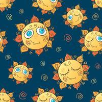 Gladlynt barns sömlösa mönster med soler. Vektor