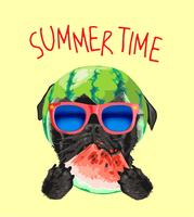 black pug dog in sunglasses and watermelon illustration
