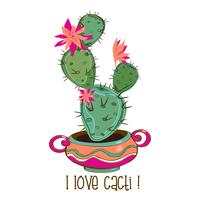 Cactus in a nice clay pot. Inscription. I love cacti. Vector