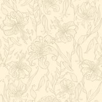 Seamless pattern. lilies on a vanilla background. Vector