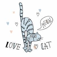 Allegro gatto Doodle in uno stile carino. Sfondo a righe Vettore